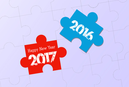 happy new year 2017. word puzzle Illustration
