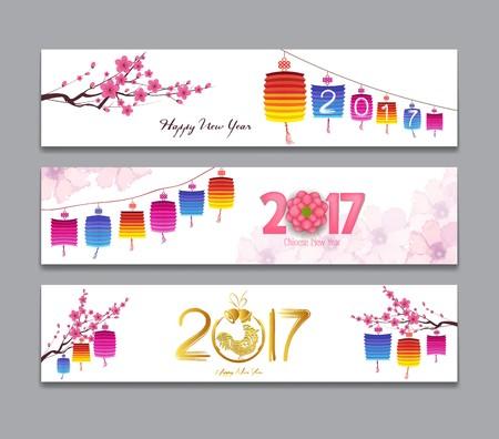 Banderas horizontales Set con Dibujado a mano chino del Año Nuevo Gallo Foto de archivo - 61145616