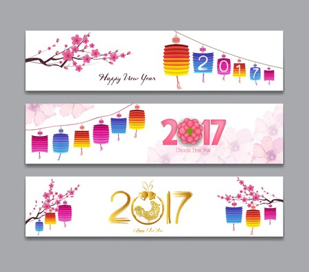 china watercolor paint: Horizontal Banners Set with Hand Drawn Chinese New Year Rooster