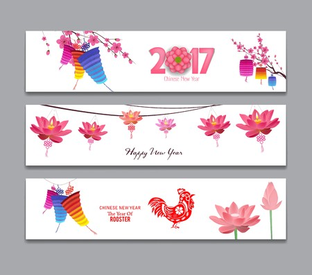 celebrate year: Horizontal Banners Set with Hand Drawn Chinese New Year Rooster