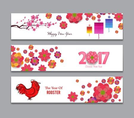 flores chinas: Banderas horizontales Set con Dibujado a mano chino del Año Nuevo Gallo Vectores
