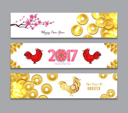 Horizontal Banners Set with coin Chinese New Year Rooster