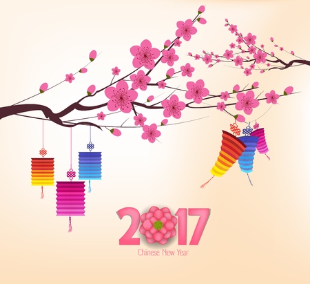 auspicious occasions: Chinese new year 2017, background with lantern and plum blossom