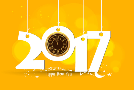 new years day: Happy New Year 2017 - Old clock