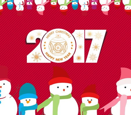 chinese holly: Merry christmas and happy new year 2017 background
