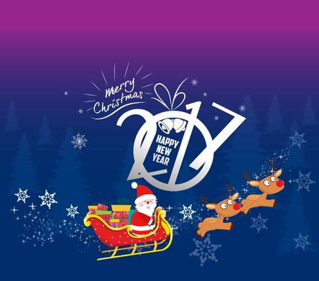 santaclause: Merry christmas and happy new year 2017 background