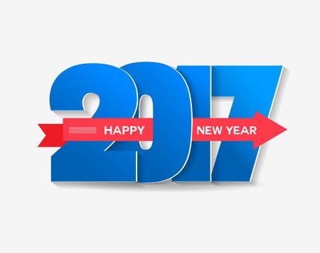 newyear card: happy new year 2017 typography