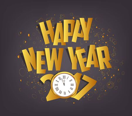 paper folding: Letter Folding with Paper and clock, Happy New Year 2017 Illustration