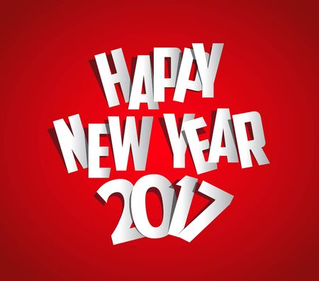 El plegado de cartas con el papel, Feliz Año Nuevo 2017 Foto de archivo - 61350042
