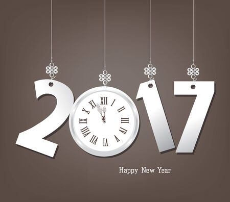 auspicious element: Happy New Year 2017 with clock Illustration