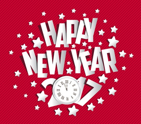 wish: Happy New Year 2017 greeting card.