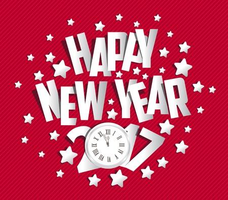 tarjeta de felicitación de año nuevo 2017 feliz.