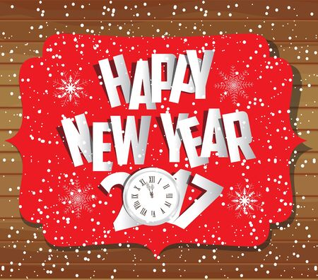 paper folding: Merry christmas and happy new year 2017 gold paper Illustration