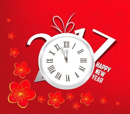 knick: Happy new year 2017 clock. Oriental Chinese Background