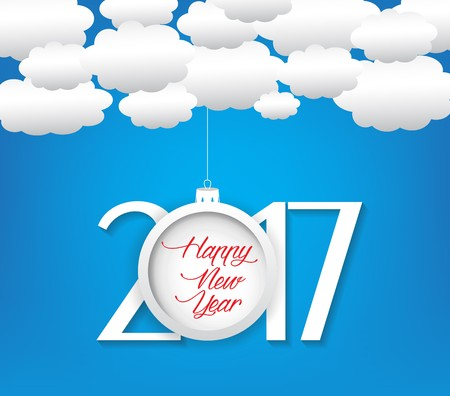 cloud: Happy new year 2017 cloud and sky background Illustration