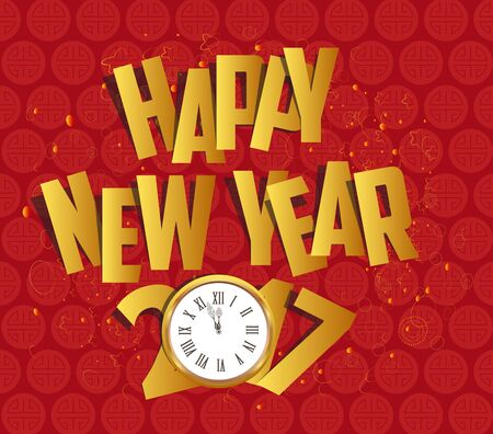Happy new year 2017 gold clock. Oriental Chinese Background