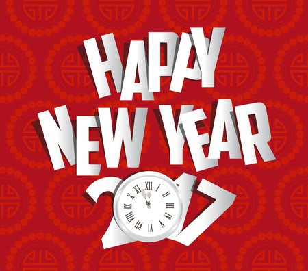 Happy new year 2017 clock. Oriental Chinese Background
