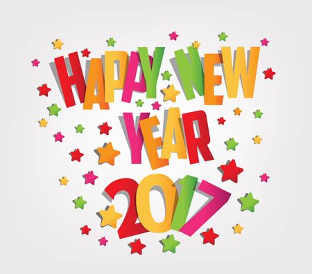 happy newyear: Happy new year 2017 colorful background