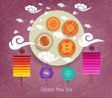 mooncake festival: Oriental Chinese New Year background with lantern, tea and cake