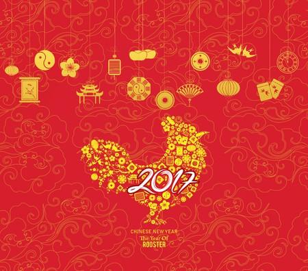 Oriental Feliz Año Nuevo Chino 2017. Año del Diseño Gallo Foto de archivo - 62070386