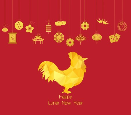 god of wealth chinese new year: Chinese new year. Year of Rooster Illustration