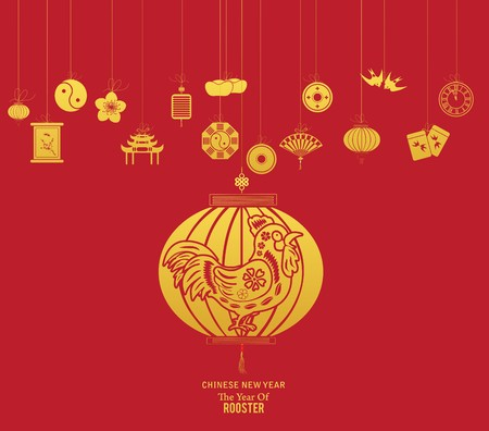 fortuna: Chinese new year with lantern. Year of Rooster Illustration