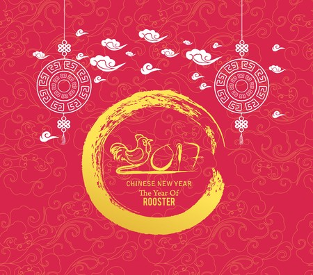 stroking: Oriental Chinese New Year rooster background