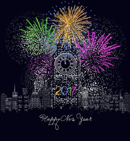 prosperidad: Feliz año nuevo 2017 escrito con el fuego artificial de la chispa y llevó