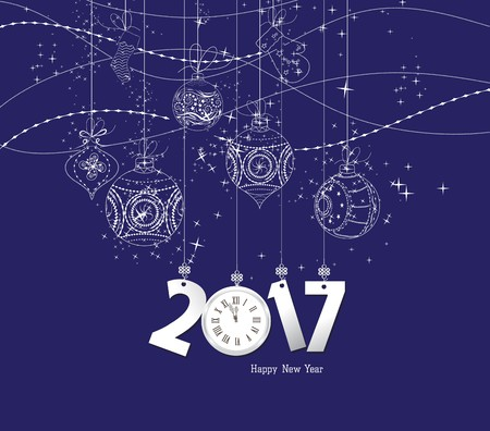 Happy new year 2017 clock and ball