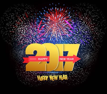 Happy New Year 2017 polygonale et Firework