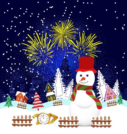 Christmas and happy new year 2017 Background with snowman