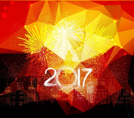 city at night: Happy new year fireworks 2017 city night background design
