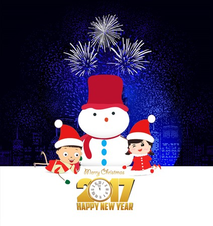 Joyeux Noël et bonne année 2017 avec horloge et enfants drôles