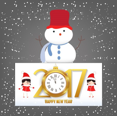 Merry Christmas and Happy New Year 2017 greeting card with clock.