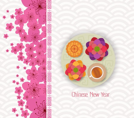 Chinese new year 2017 blossom and cake Illustration