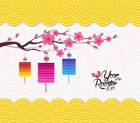 Chinese new year 2017 lantern pattern background