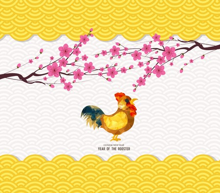 Chinese new year 2017 rooster and pattern background