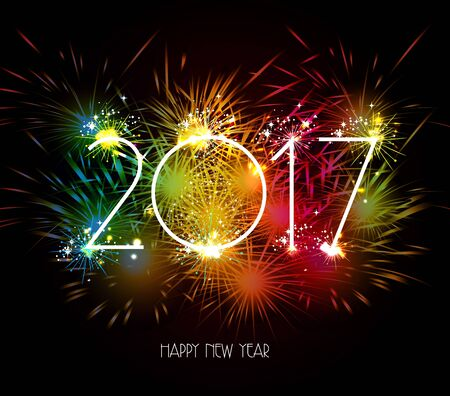 Feliz Año Nuevo 2017 fuegos artificiales de colores Foto de archivo - 62616346