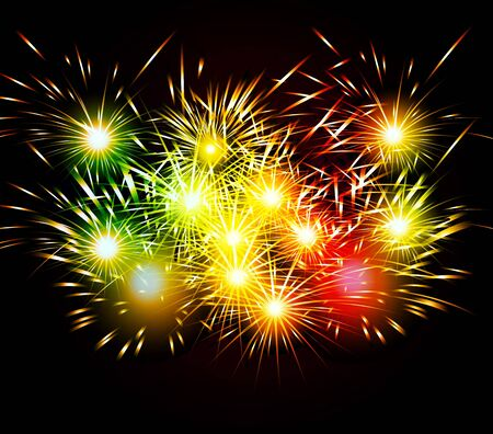 year greetings: Happy New Year Fireworks colorful
