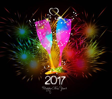 champagne glasses: Happy New Year 2017 Fireworks and colorful triangle glass