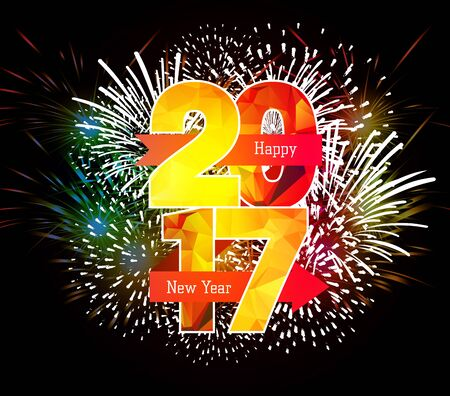 auspicious element: Happy New Year 2017 Fireworks colorful