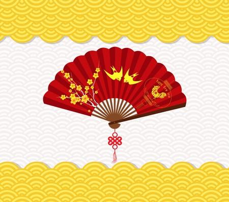 Anno Nuovo cinese Sfondo con fiore e gallo Vettoriali