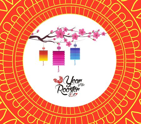 Chinese new year pattern background with lantern
