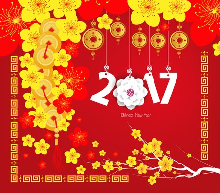 year: Happy Chinese new year 2017 card, Year of the Rooster Illustration