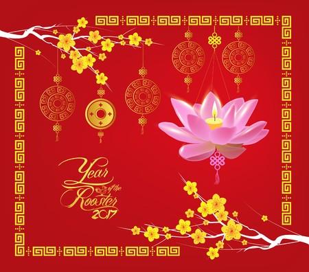 lotus lantern: Happy Chinese new year 2017 card, Lotus lantern
