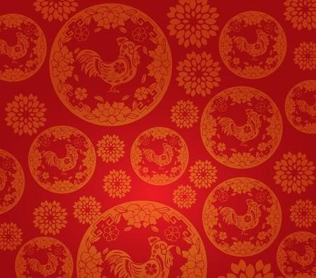 Chinese nieuwe jaar haan patroon achtergrond Stock Illustratie