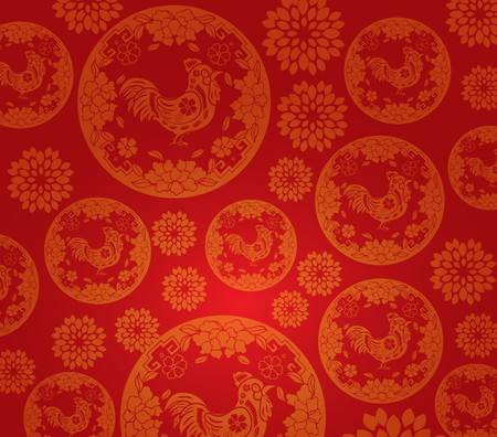 Chinese new year rooster pattern background