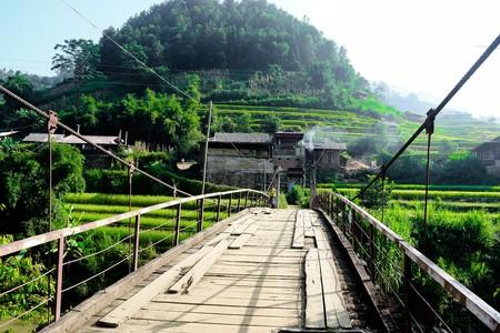 chai: Wood bridge in Mu Cang Chai, northwest of Vietnam.