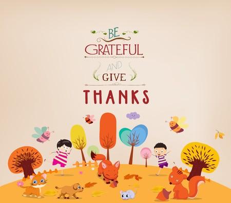 Día de Gracias. Niños divertidos con los animales Ilustración de vector