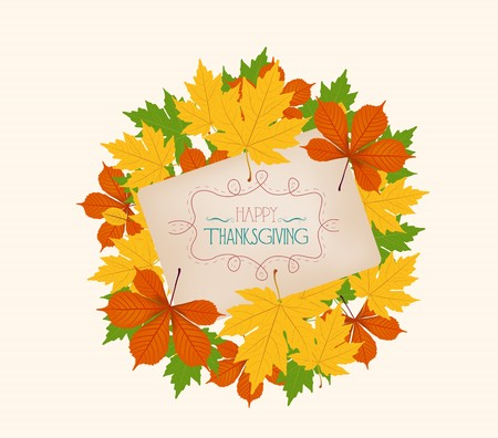 Thanksgiving. Colorful autumn leaves on a old paper